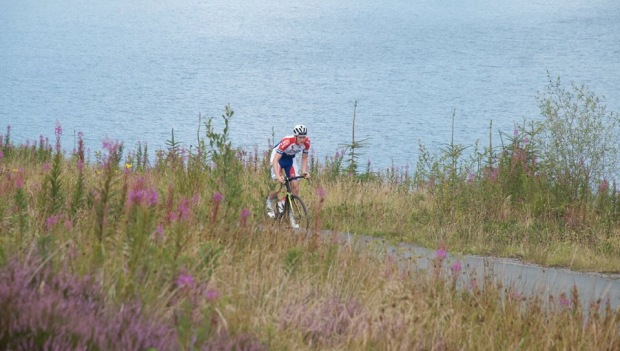 Cyclist at Llyn Brenig, North Wales