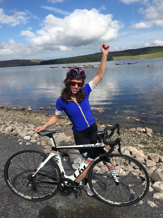 Female Cyclist at Llyn Brenig, North Wales