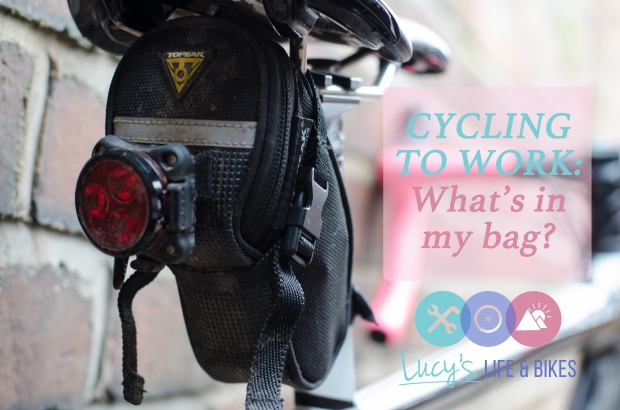 Picture of a saddle bag and title CYCLING TO WORK: What's in my bag?